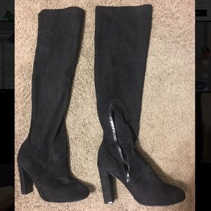 Suede Black Thigh High Heeled Boots